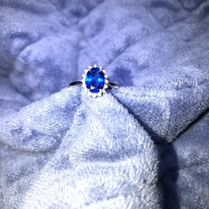 Blue Simulated Sapphire 10k White Gold Ring